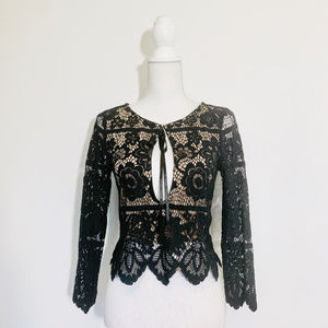 NWOT For Love & Lemons size S black lace blouse